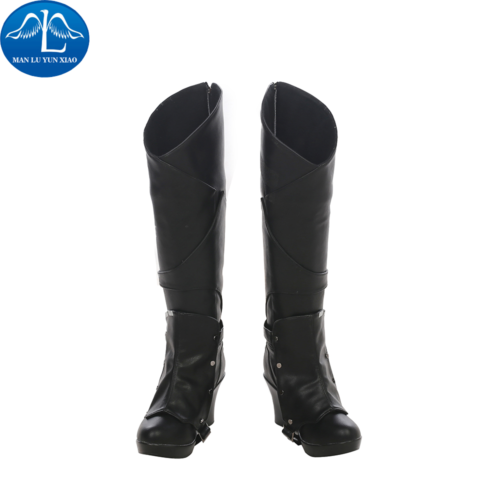 MANLUYUNXIAO New Arrival Womens Guardians of The Galaxy 2 Gamora Boots Halloween Carnival Cosplay Boots Black Leather Boots