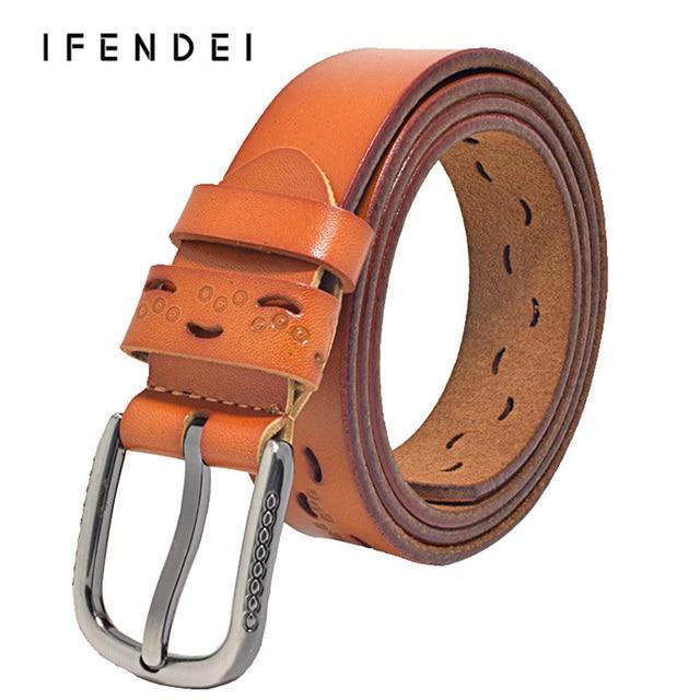IFENDEI Cinturones de Cuero Genuino de Las Mujeres Mujer Nuevo Hueco Salvaje Hebilla Cinturones Ceinture Femme Simple Moda de Cuero de Los Niños