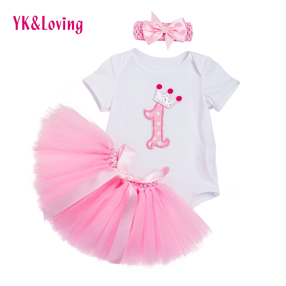 Newest Baby Girl Clothes Infant White Rompers Jumpsuit Pink Tutu Skirts 3 Pcs Girls Newborn Birthday Clothings Sets Summer Z701 ...