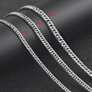 """Image 2 - 100% 925 ayar gümüş kolye erkek gümüş zincir küba yan kolye 4/5 / 6MM20 """"erkek takı"""