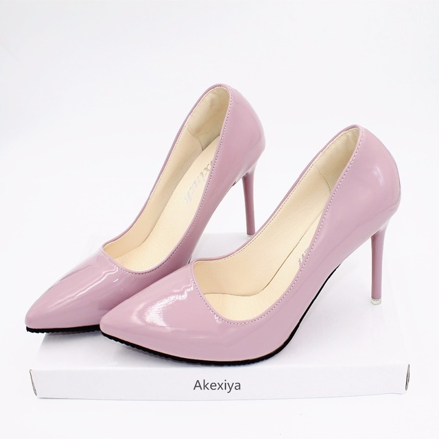 Akexiya Europe and the United States 10cm female nude pointed heels in autumn with a fine with sexy black patent leather shoes