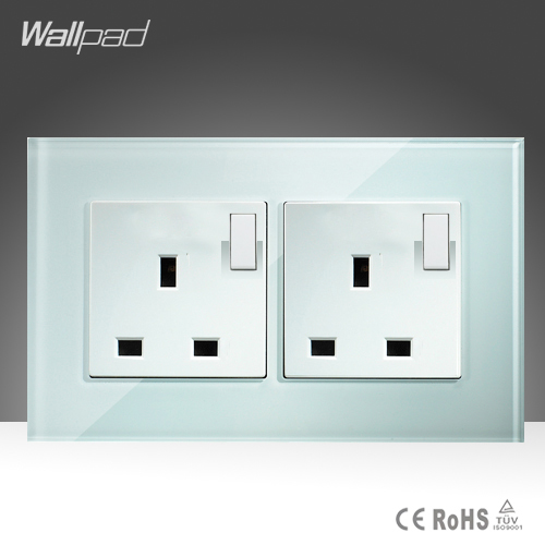 Double 13A UK Switched Socket Wallpad White Crystal Glass 110v-250V 146*86mm Button Switch and 13A UK Wall Socket Free Shipping wallpad luxury double 13 a uk switched socket goats brown leather 1 gang switch and 13a wall socket with neon free shipping