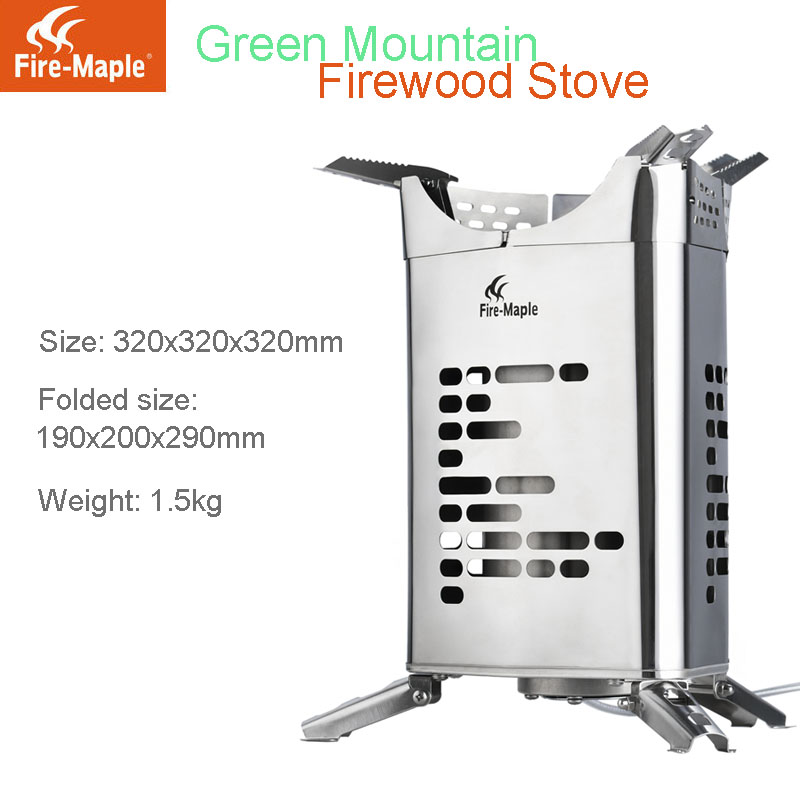 Fire Maple Green Mountain Camping Windproof Foldable Firewood Stove with Detachable Air- ...
