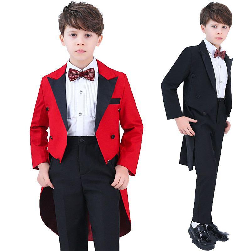 2019 enfants garçons smoking costume pour Piano fête de mariage garçons 4/5 pièces ensembles Blazer + pantalon + chemise + arc + gilet bébé garçon costumes vêtements formels Y65