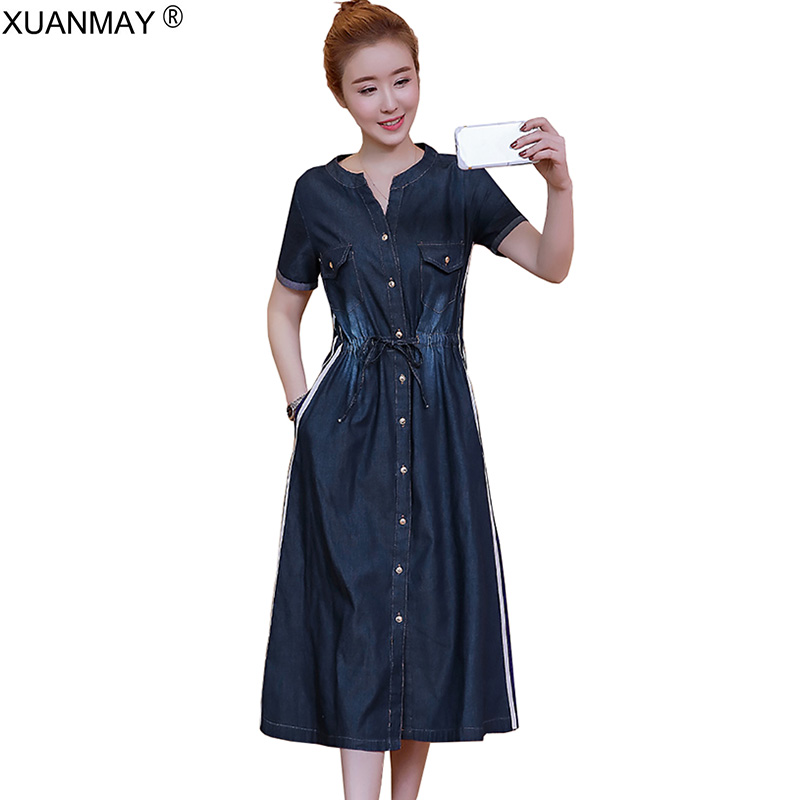 Summer Denim dress Long style Shirt style Dress Women's Short sleeve Dress Casual Hole denim Dress Waist button Cardigan dr elastic waist button denim dress