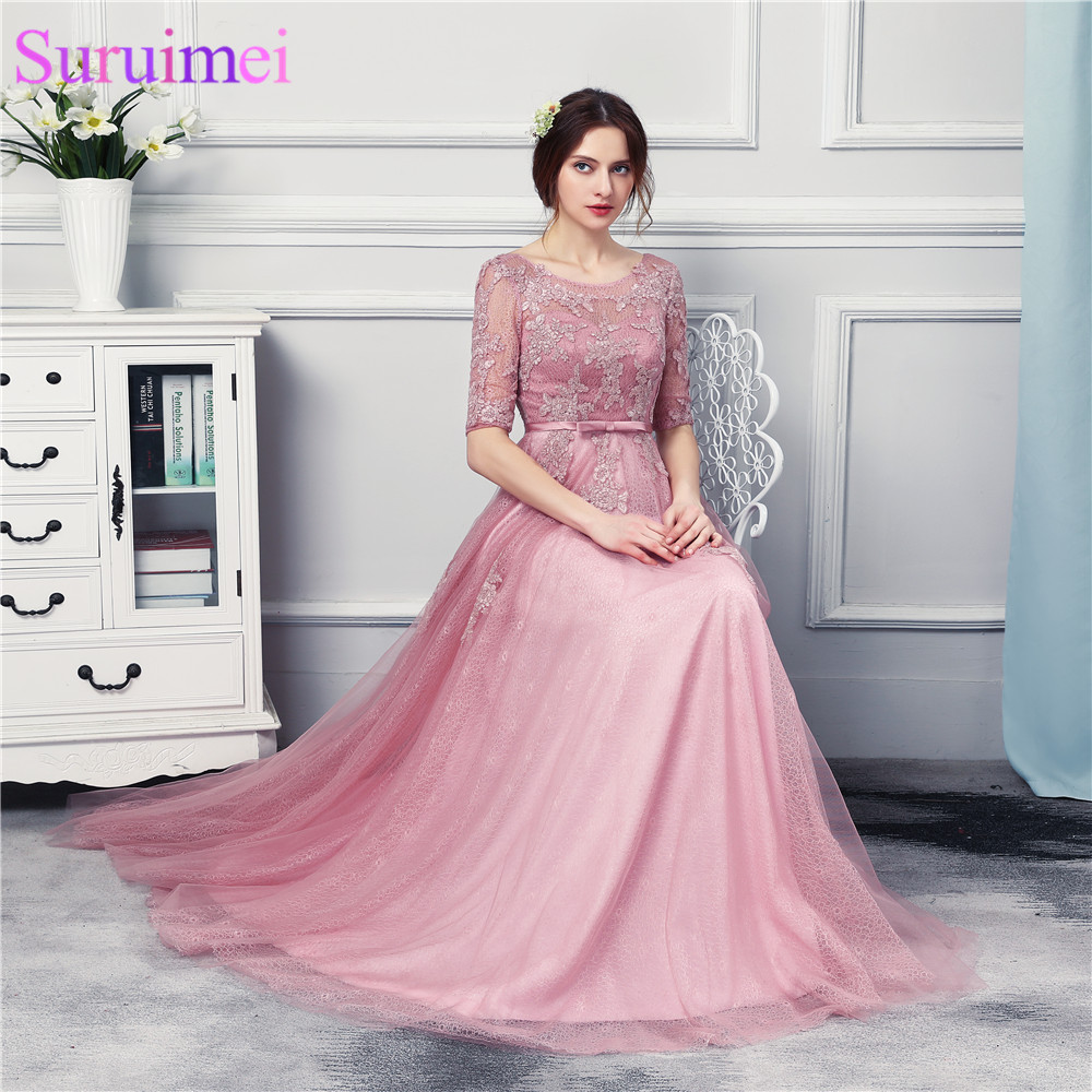 New Arrival O Neck Grape Long Evening Dresses Half Sleeves See ...