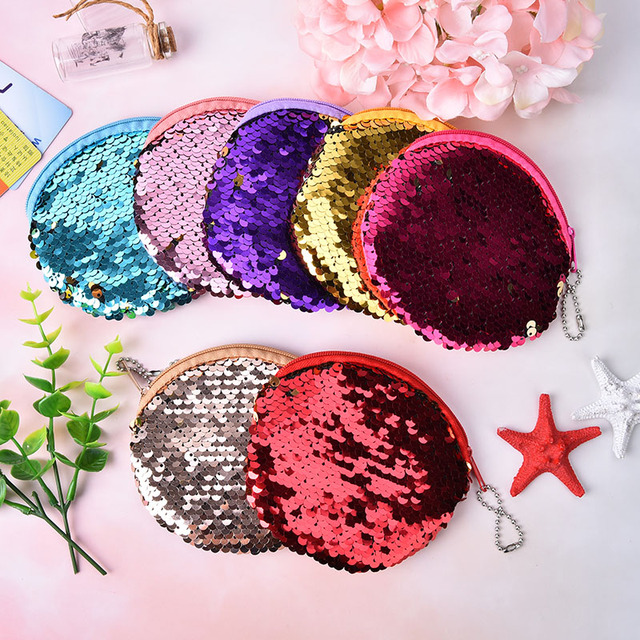 portable cute childern zipper purse bags sequines coin purse pocket change wallet for girls round organizer earphone pouch