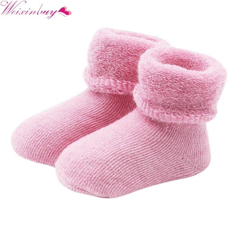 Новый 0-2 лет Детские Обувь для девочек Обувь для мальчиков новорожденным зима теплая Сапоги и ботинки для девочек Дети Мягкий хлопок Носки д...