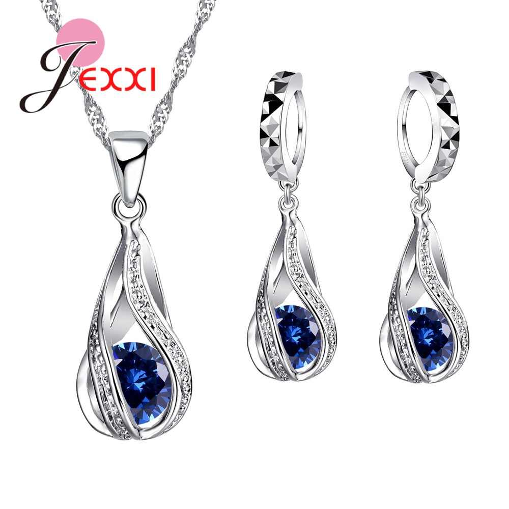 8 Colors Best Gift for Women Girls Friends 925 Sterling Silver Jewelry Set CZ Cubic Zircon Water Drop Necklace Dangle Earrings