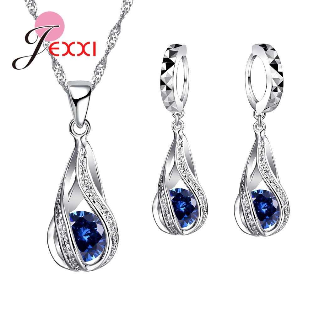 8 cores melhor presente para as mulheres meninas amigos 925 conjunto de jóias de prata esterlina cz zircão cúbico gota de água colar balançar brincos