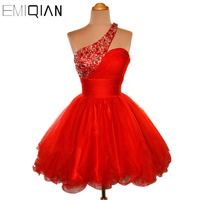 Cheap Short Party Dress Puffy Skirt One shoulder Red Organza Beaded Cocktail Dresses