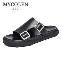 MYCOLEN Шлепанцы из натуральной кожи Для мужчин летние сандалии дышащая Брендовая дизайнерская обувь стильная обувь из натуральной кожи пляжн