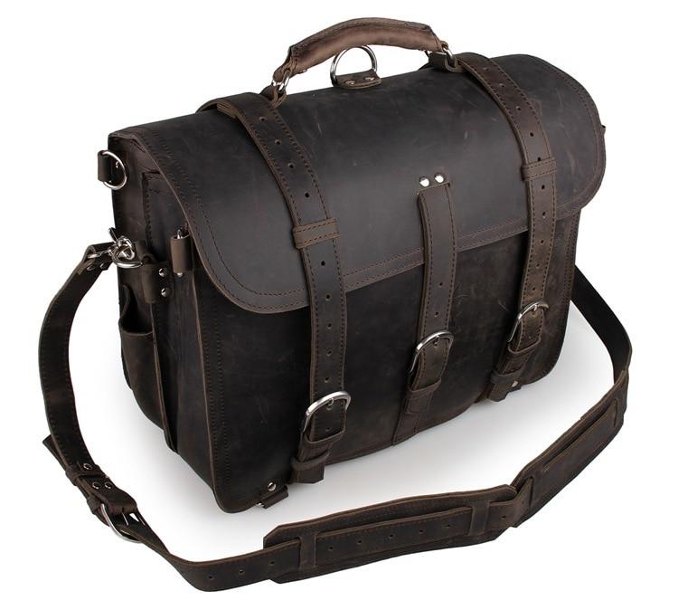 Crazy Horse Leather Men's Dark Gray Duffle Bag Huge Travel Bag  7072J-1 7077r crazy horse leather unisex dark brown huge luggage bag tote bag travel bag