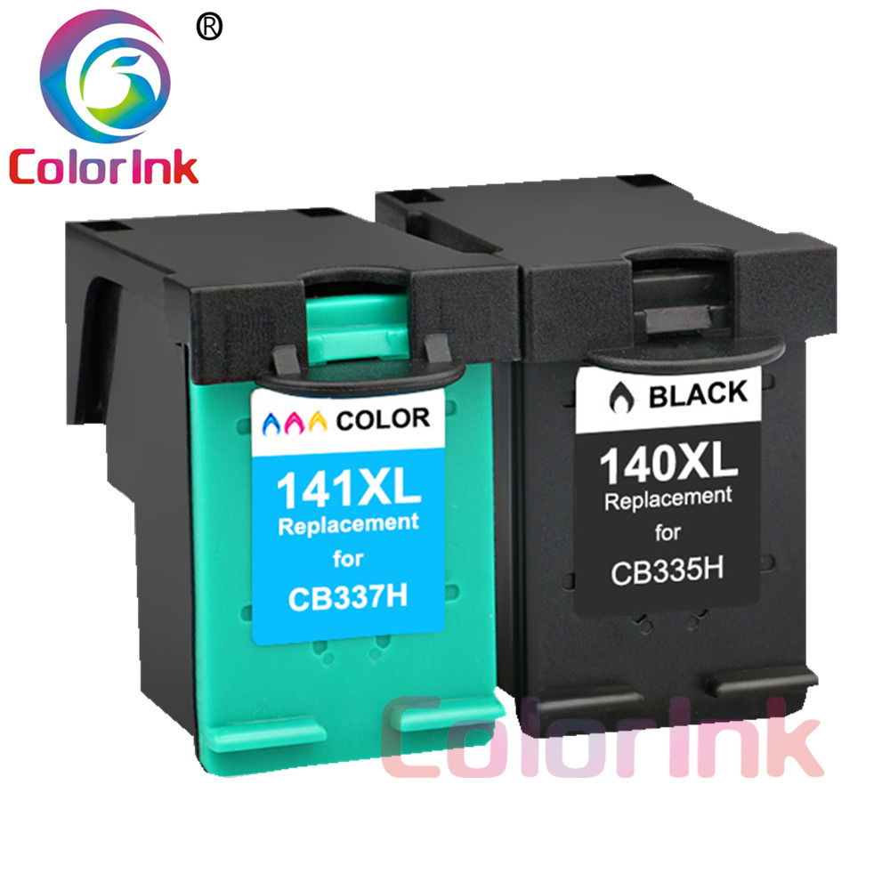 ColoInk 2Pack 140XL 141XL Ink Cartridge Replacement for <font><b>HP</b></font> <font><b>140</b></font> <font><b>141</b></font> for <font><b>HP</b></font> Photosmart C4283 C4583 C4483 C5283 D5363 printer image