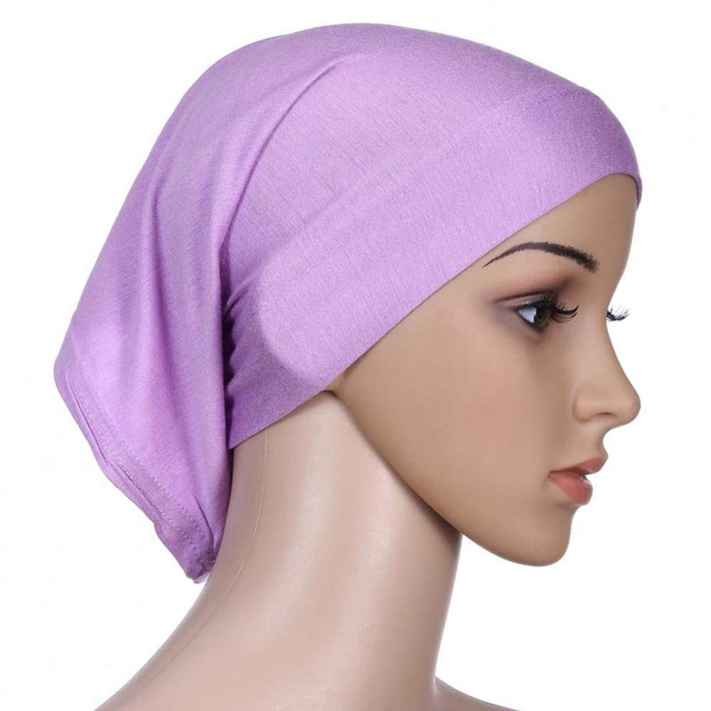 Women Islamic Hijab Cap Scarf  Tube Bonnet Hair Wrap Colorful Head Band bikini sarong wrap beach scarf