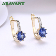 2019 New Arrival Champagne Gold Drop Earring With Round CZ Cubic Zircon Earrings For Women Jewelry
