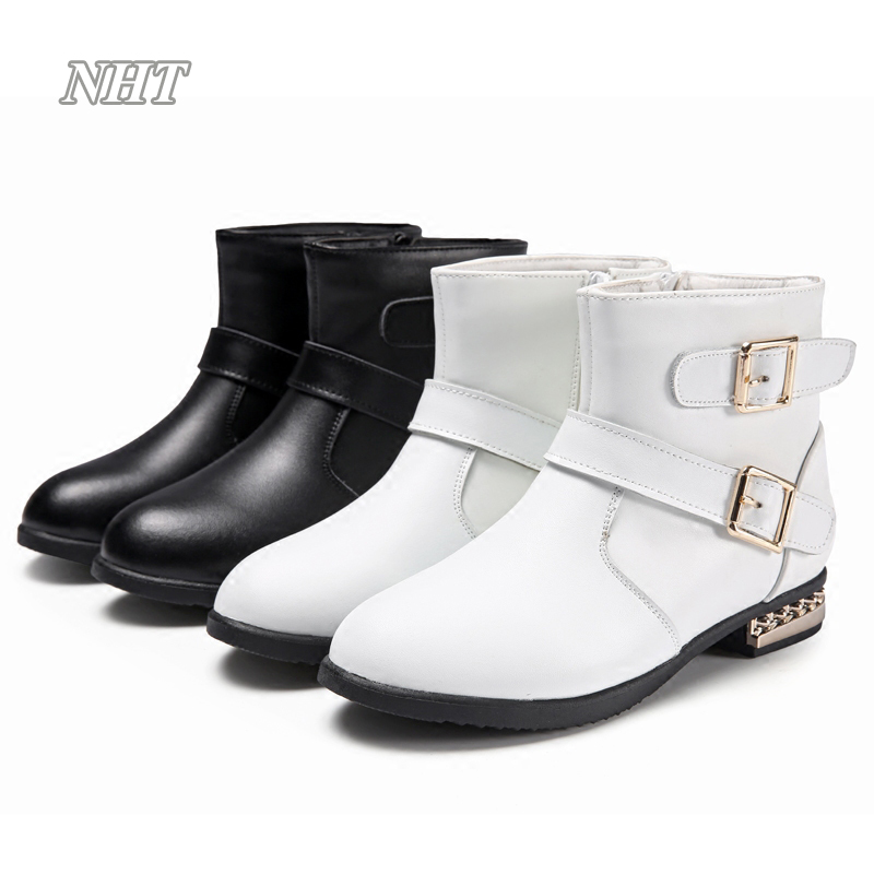 Nauhutu fashion children shoes girls, ankle high gold heel patent leather boots kids girls autumn winter buckle shoe 26~37 eur kelme 2016 new children sport running shoes football boots synthetic leather broken nail kids skid wearable shoes breathable 49