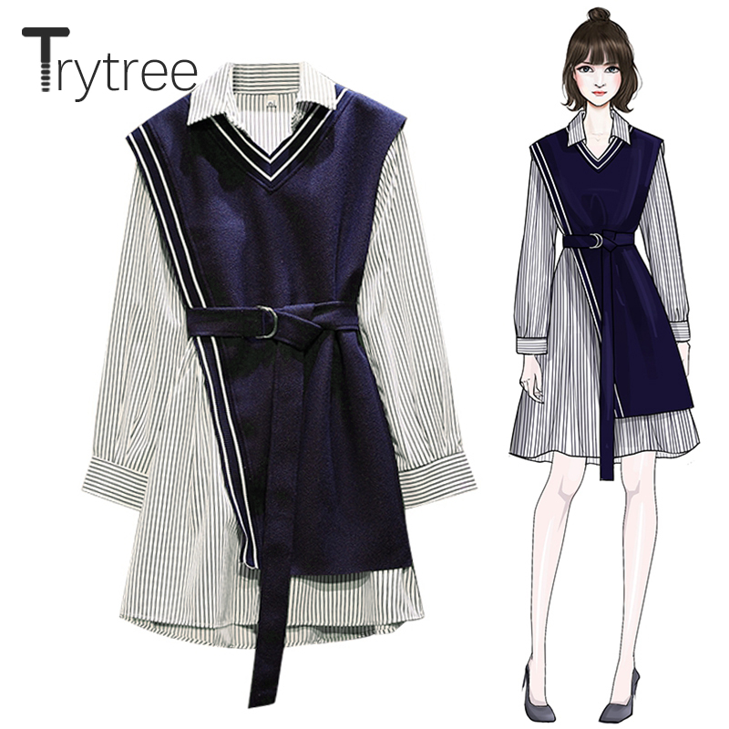 Trytree Autumn Women Two Piece Set Casual Top + Dress Blue Knitted Top And  Striped Long Blouse Above Knee Suit Set 2 Piece Set