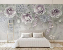 Beibehang Custom Photo Wallpaper Modern purple 3d  flowers Mural Wall Paper Living Room TV Bedroom 3D wallpaper Home Decor