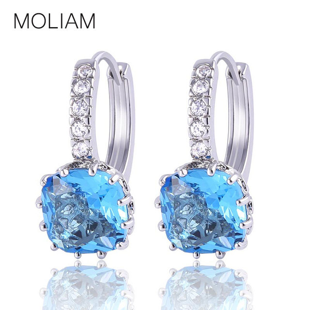 MOLIAM High Class Sterling Silver 925 Earing for Women AAA Cubic Zirconia Crystal Hoop Earrings Fashion Engagement Jewelry SE02