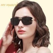 купить MYMARCH Fashion Brand Sunglasses Women Luxury Designer Vintage Sun Glasses Rimless Fashion Glasses Eyewear UV400 Oculos De Sol недорого