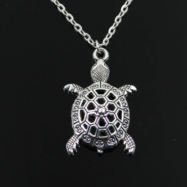 35fda5e647 new fashion hollow tortoise turtle sea Pendants round cross chain short  long Mens Womens silver necklace Jewelry Gift