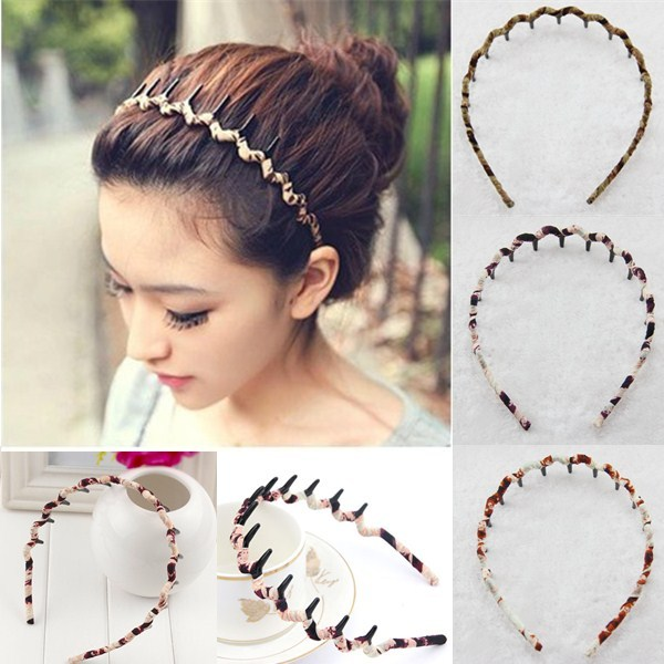 Women Korean Style Leopard Dense Tooth Toothed Wave Shaped Hair Band