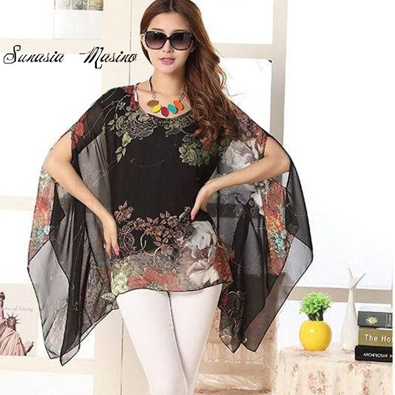 f0c404209f 2017 nowa Europejska i Amerykańska moda lato koszule stylu drukowania kodu  nieregularne rękaw nietoperz krótki rękaw koszula szyfon kobieta