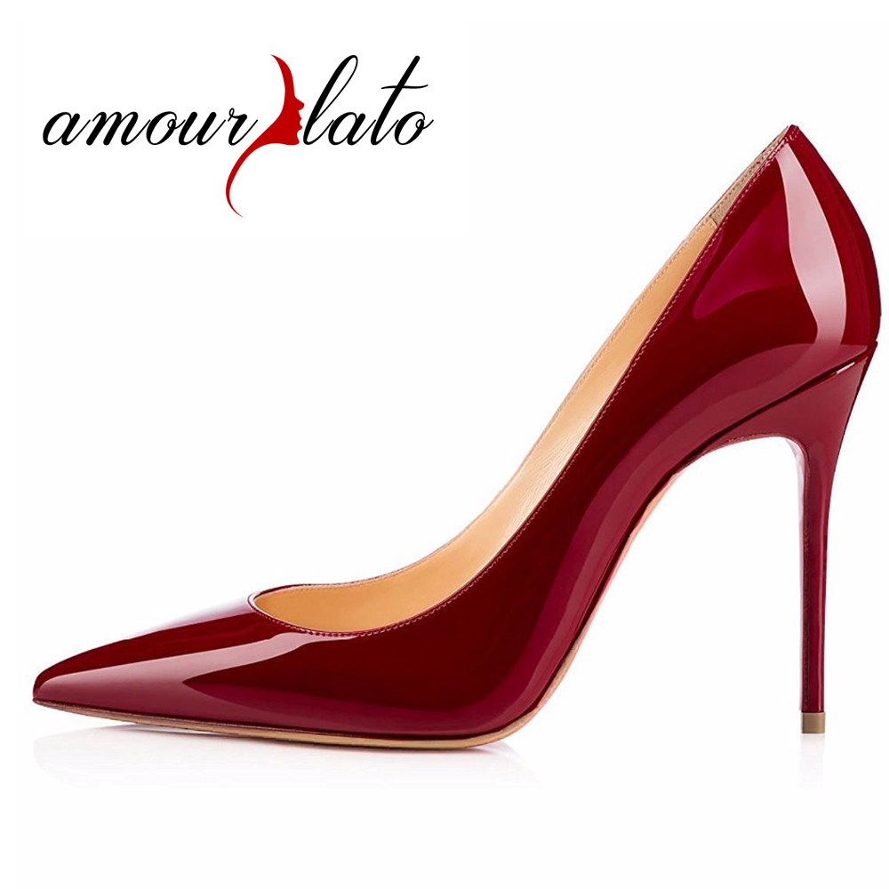 Amourplato Women's Handmade Pointed Toe High Heel Pumps 10cm Stiletto Heels Party Prom Evening Wedding Dress Shoes Plus Size amourplato women s fashion pointed toe high heel sandals crisscross strap pumps pointy dress shoes black purple size5 13