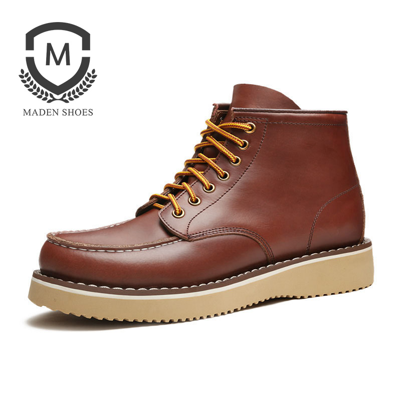 Maden Martin Boots Men Height Increasing Brown High Quality Leather Tooling Boots Man Fashion Lace Up Luxury Mens Casual Shoes men shoes martin boots genuine leather male fashion casual shoe to help the high wear water resistant tooling boots