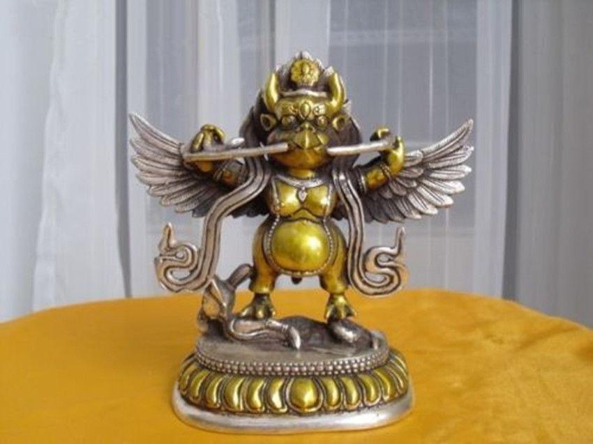Tibetan Silver Buddhist bronze Garuda statue bouddha statueTibetan Silver Buddhist bronze Garuda statue bouddha statue