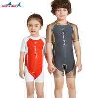 One pieces Children Diving Suit Boys Girls Swimming Suit Tight Protector Short Sleeve Anti ultraviolet UPF50+ Swimwear Clothes