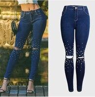 2018 Jeans Woman Plus Size Skinny Jeans Woman Pearl Beading Hole Ripped Jeans For Women Denim Slim 3XL Jeans Femme Streetwear