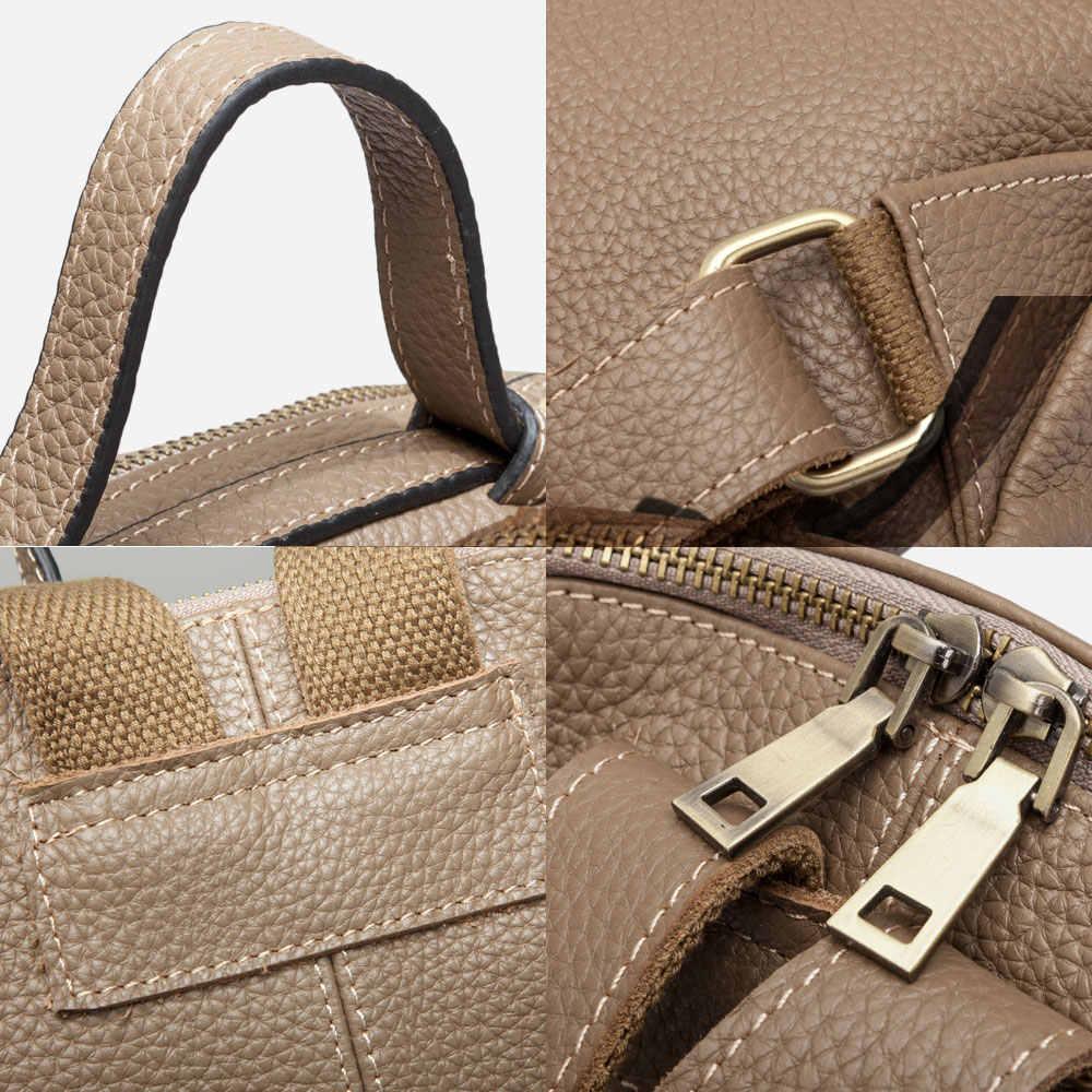 Zency novo modelo 100% couro natural mochila feminina grandes sacos de viagem irregular oval diário mochila da menina caqui