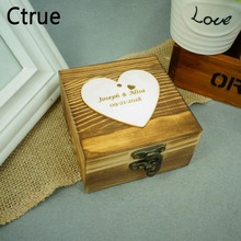 Custom Personalized Ring Box Rustic Vintage Shabby Chic Heart Name Date Wedding Holder Pillow Bearer With Lock
