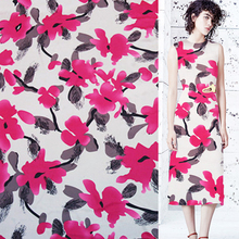 Designer graffiti floral print 100% pure Silk Satin silk Charmeuse fabric 16momme 140cm,SSC107