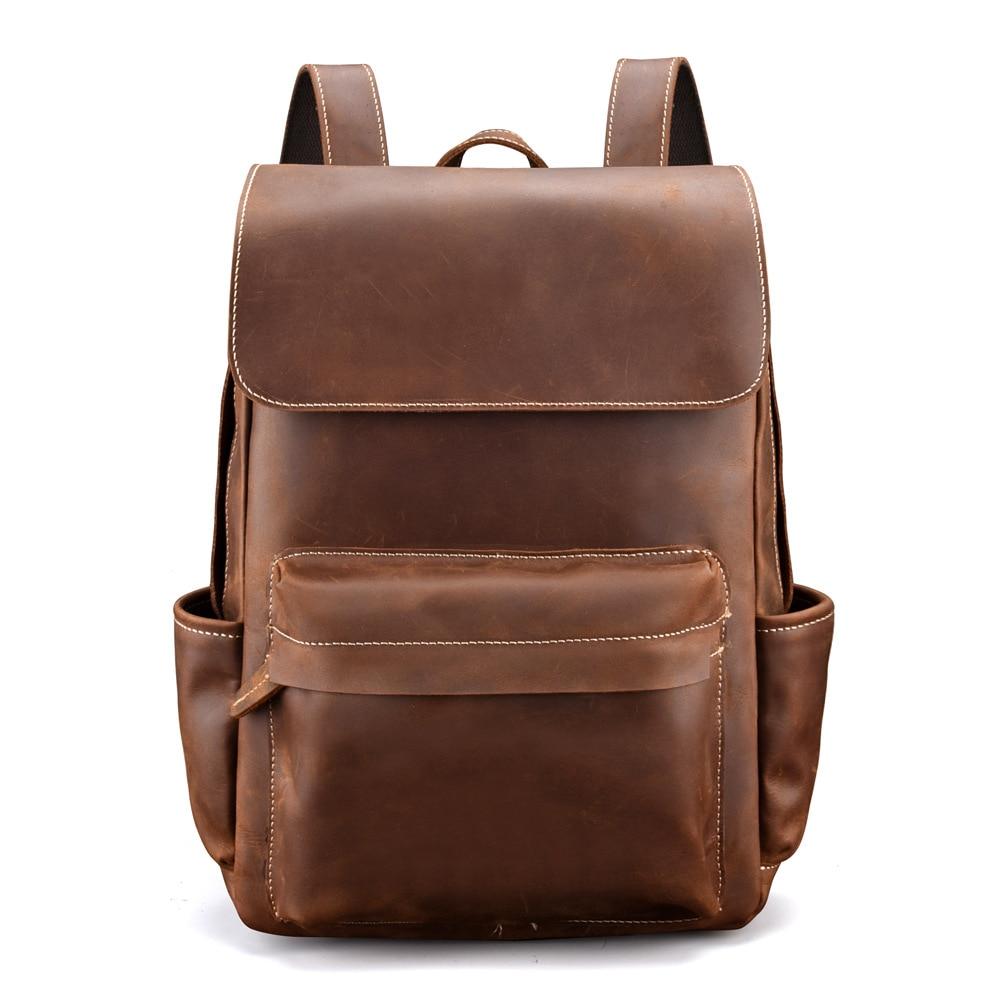 Luggage & Bags Retro Genuine Crazy Horse Leather School Backpack Men Travel Large Capacity Mochila Feminina Black Brown Travel Bag Shoulder Bag