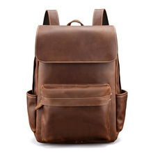 Man Woman Backpack Genuine Leather Fashion Couple Model Shoulder Bag Travel Gift