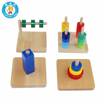 Montessori Baby Wooden Toys Early Education Training Preschool Teaching Aids Discs on Dowel