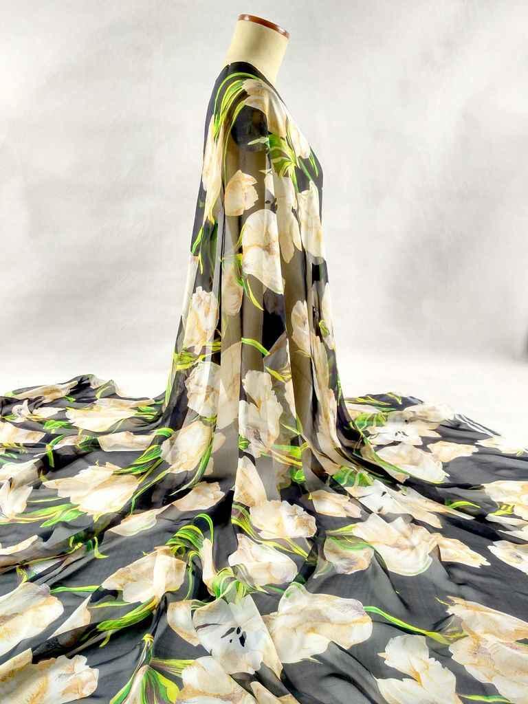 Murni Alami 100% Murbei Sutra Sifon Bahan Tekstil Kain Digital Dicetak bunga putih Wanita Scarf Tissu