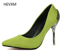 2017 New Spring Fashion Sexy Women Shoes with Heels Carved Metal Fine Suede Shoes Wedding Shoes Asakuchi Pointed Female Pumps