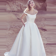 Verngo Classic Ball Gown Bride Dresses Long Ivory Stain Wedding Dress Simple Gowns Off The Shoulder Sukienka Na Wesele