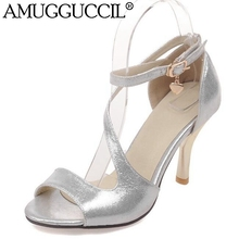 2017 New Plus Big Size 31-44 Purple Gold Silver Buckle Fashion Sexy High Heel Summer Girl Female Lady Women Sandals L751