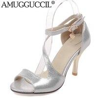 2018 New Plus Big Size 31 44 Purple Gold Silver Buckle Fashion Sexy High Heel Summer Girl Female Lady Women Sandals L751