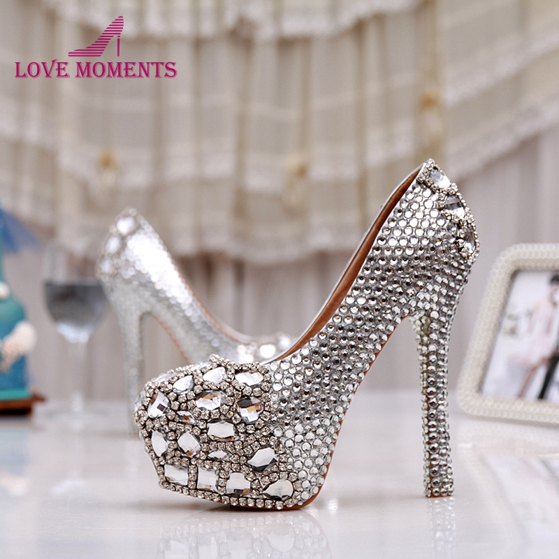 Women High Heel Prom Bridal Wedding Shoes Lady Platforms Silver Glitter Rhienstone Thin Heel Formal Dress Pumps Bridesmaid Shoes cinderella high heels crystal wedding shoes 14cm thin heel rhinestone bridal shoes round toe formal occasion prom shoes