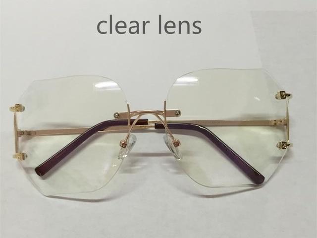 Fashion Oversized Rimless Sunglasses for Men and Women Unique Style Clear Lens Sunglasses Metal Frame Gafas De So 4vrTRoqvQC