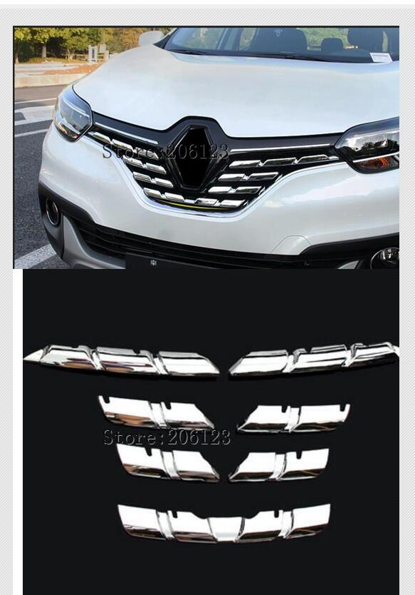 For Renault Kadjar 2015 2016 2017 2018 Chrome Front Mesh Grill Bumper Cover Trim Insert Bonnet Garnish Molding Guard Protector