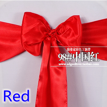 Red Colour Satin Sash Chair Sash Wedding Decoration Bow Tie Chair Band Party Hotel Show Decoration Sash Shiny Colour