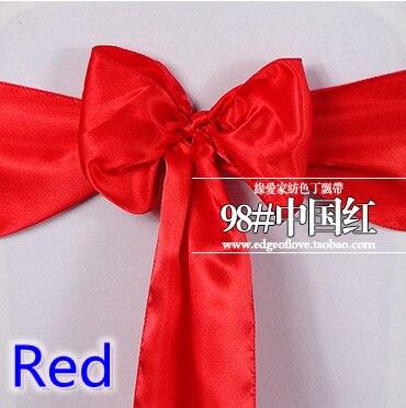 Red Colour Satin Sash Chair Sash Wedding Decoration Bow Tie Chair Band Party Hotel Show Decoration Sash Shiny Colour