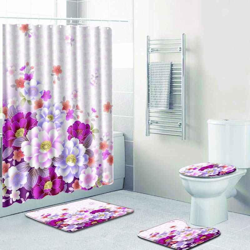 Purple Flower Polyester Shower Curtain Bathroom Waterproof with 12 Hooks Pedestal Rug Lid Toilet Cover Bath Mat Set